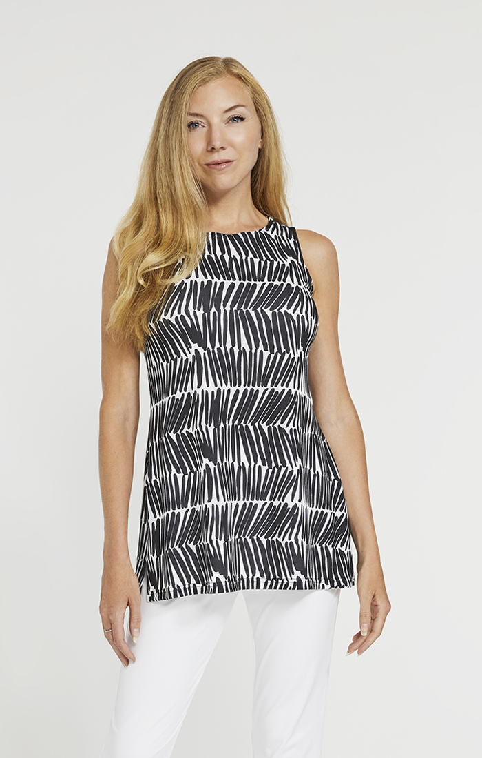 Sympli Nu Ideal Tunic Sleeveless Style 21151 Shifted Stripe