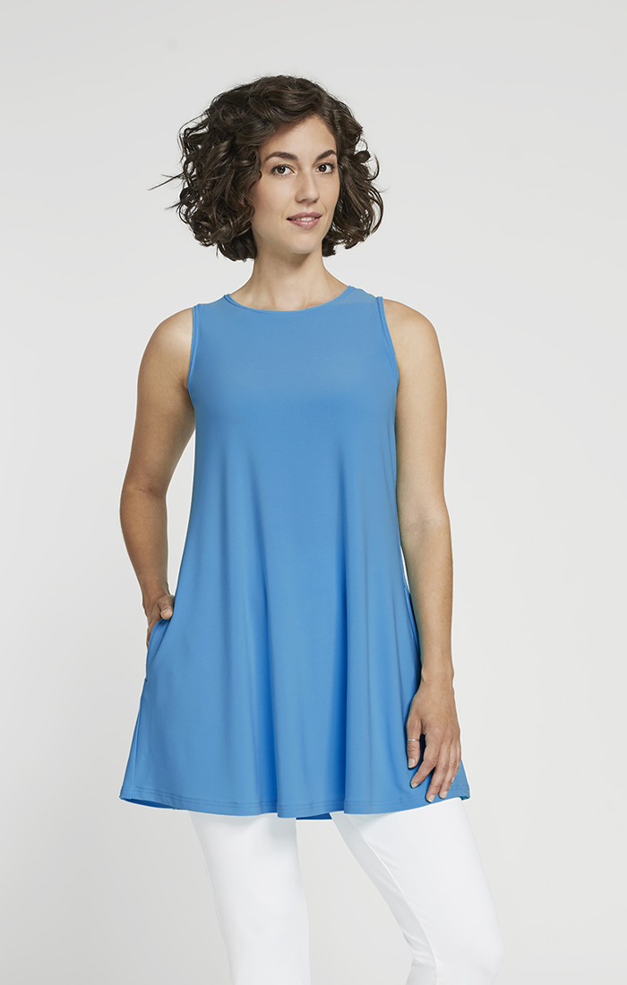 Sympli Womens Sleeveles Trapeze Tunic Style 21185, 2 Colors Available