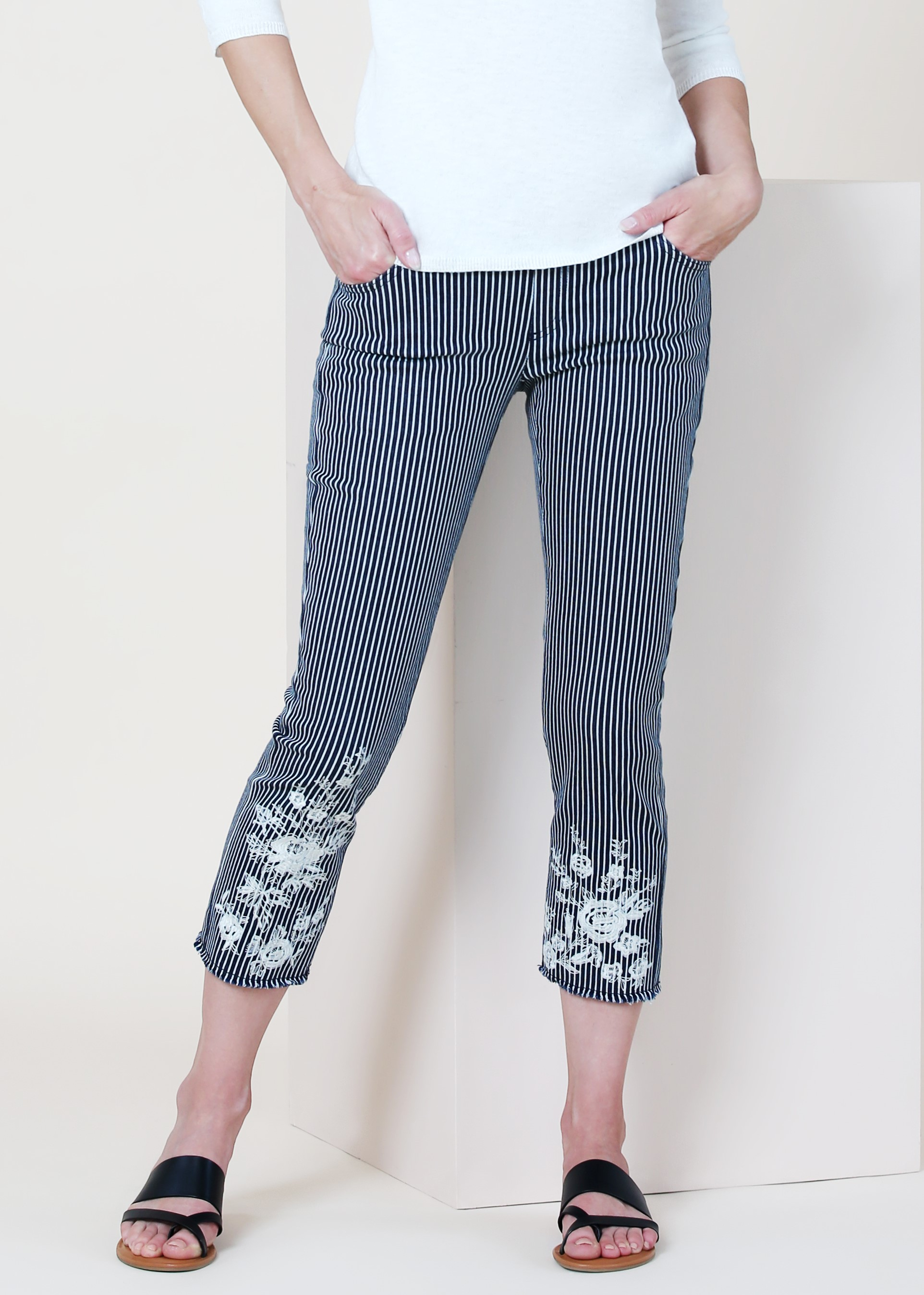 Lisette L. Crop Straight Leg Pants Style 802992 Ticking Stripe Denim Color Navy/White Lines