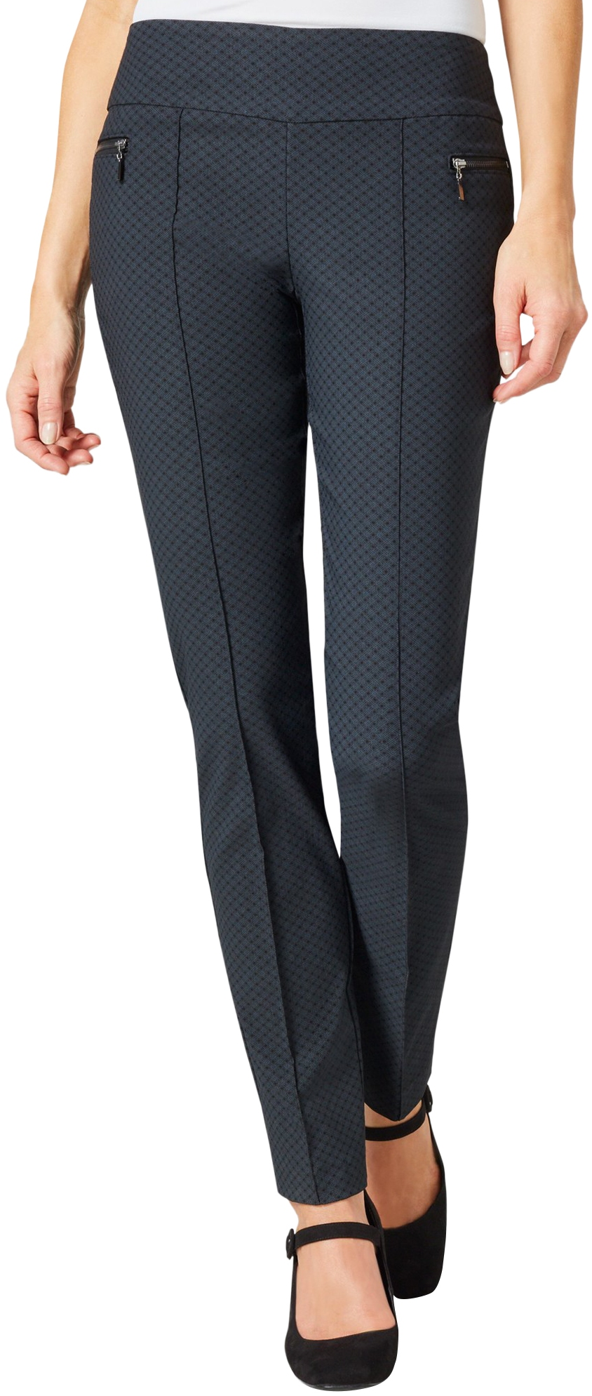 Lisette L. Skinny Legs Pants Style 100759 Diamond Pattern Mock Zip