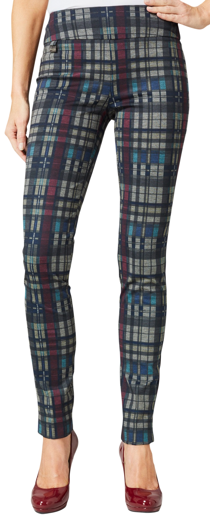 Lisette L. Skinny Legs Pants Style 9105 Highland Plaid Print Color Multi Tone
