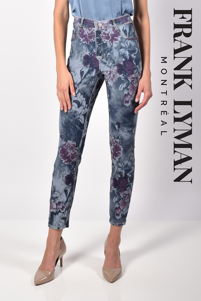 Frank Lyman Womens Reversible Floral Jeans Style 216102U, Color Dark Blue/Flower