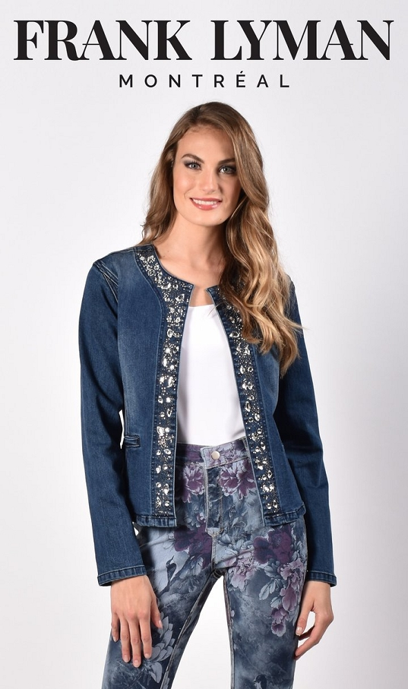 Frank Lyman Womens Denim Jacket Style 216116U, Color Dark Blue