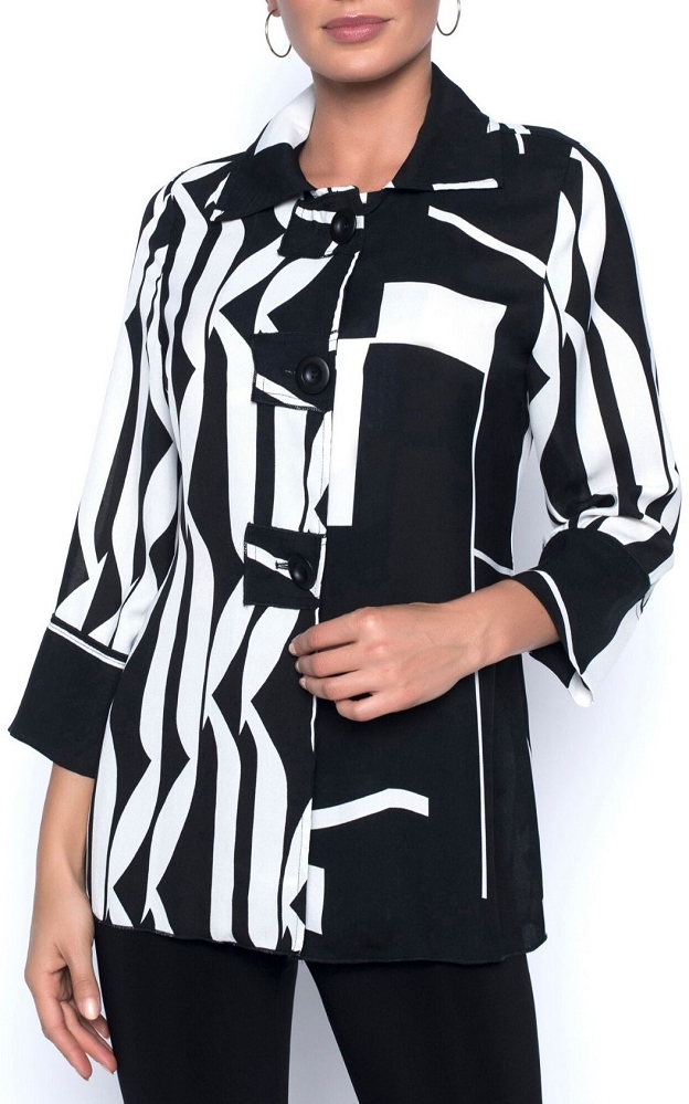 Frank Lyman Womens Woven Jacket Style 196129, Color Black/White