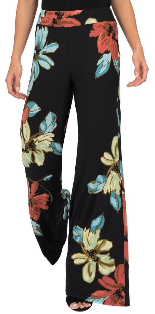 Joseph Ribkoff Womens Floral Pant, Style 191635, Color Black/Multi