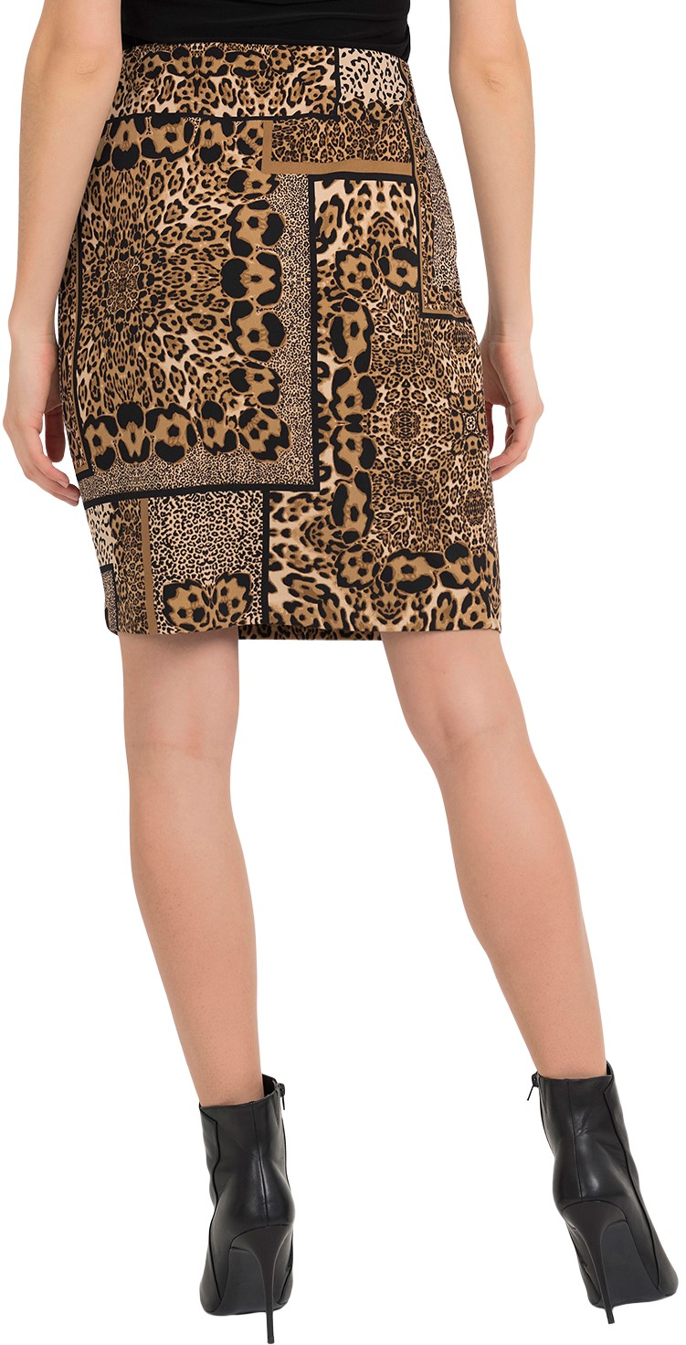 Joseph Ribkoff Womens Leopard Skirt Style 194715 Color Black/Beige