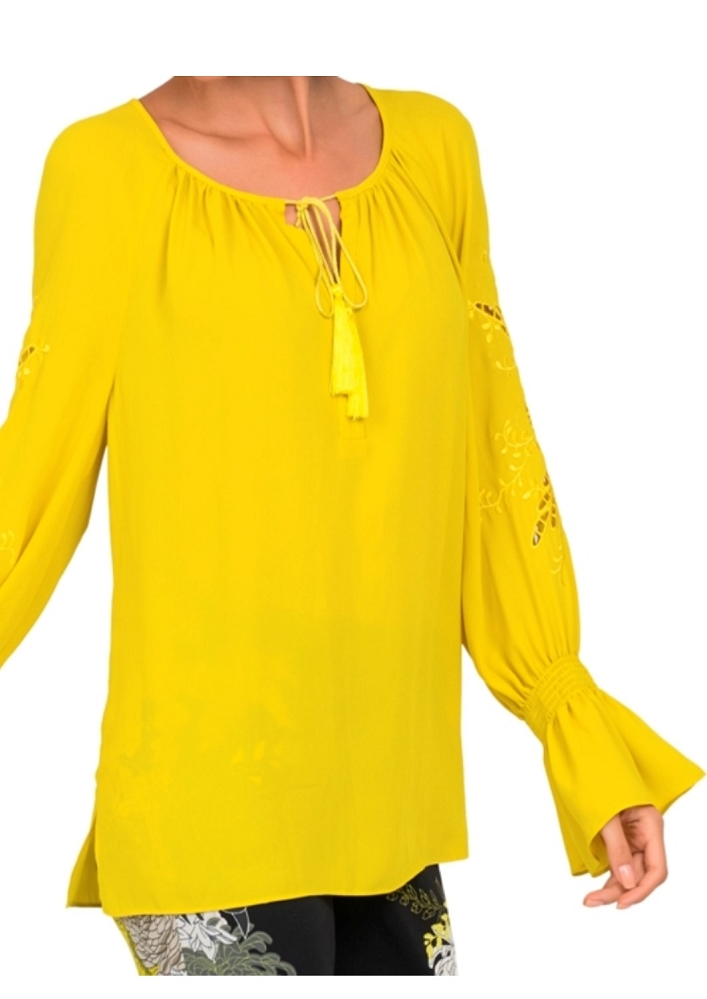 Joseph Ribkoff Womens Boho Top, Style 191249, Color Chartreuse