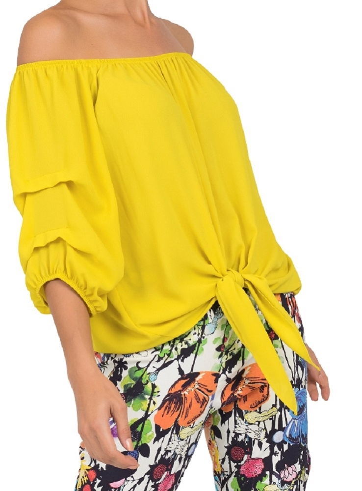 Joseph Ribkoff Off The Shoulder Tie Blouse with Gathered Sleeves Style 191257 Color Chartreuse