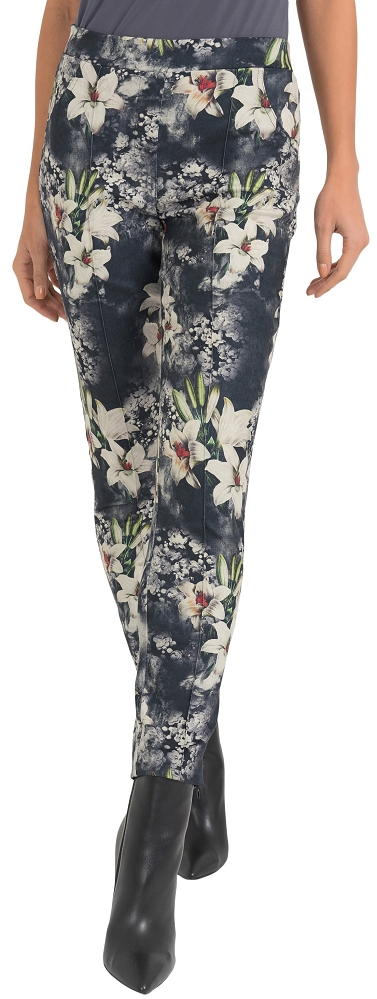 Joseph Ribkoff Womens Floral Pull On Pant Style 193639 Color Black/Grey