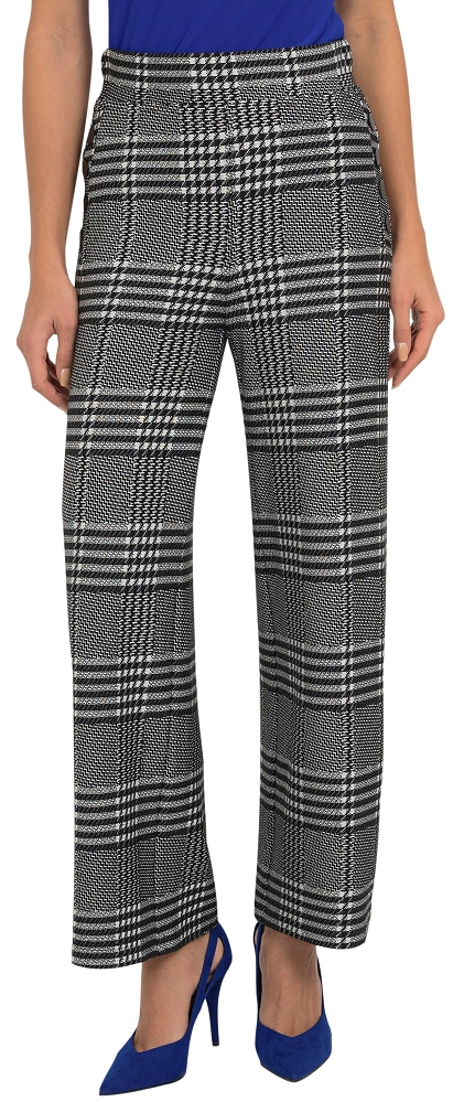 Joseph Ribkoff Womens Wide Leg Plaid Pants Style 193817 Color Black/White
