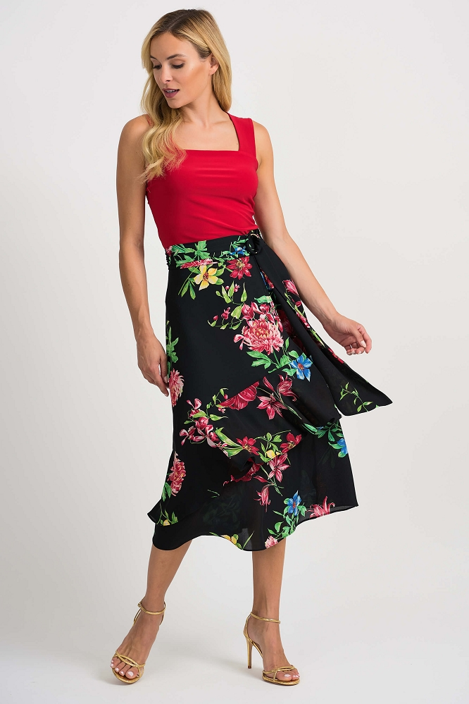 Joseph Ribkoff Womens Floral Skirt Style 201490 Color Black/Multi