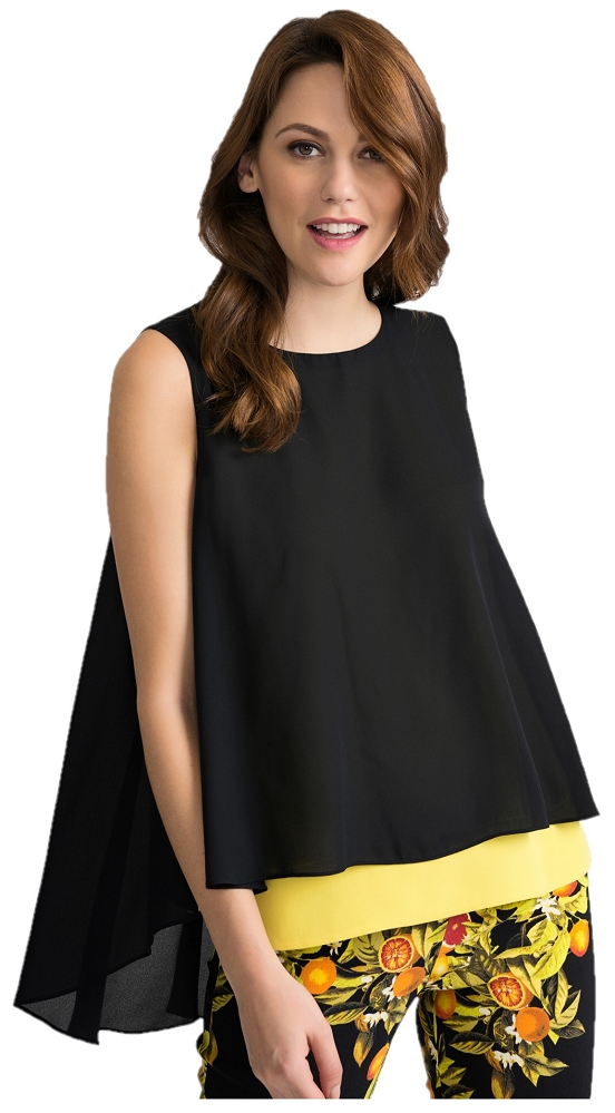 Joseph Ribkoff Womens Sleeveless Blouse Style 202381 Color Black/Yellow