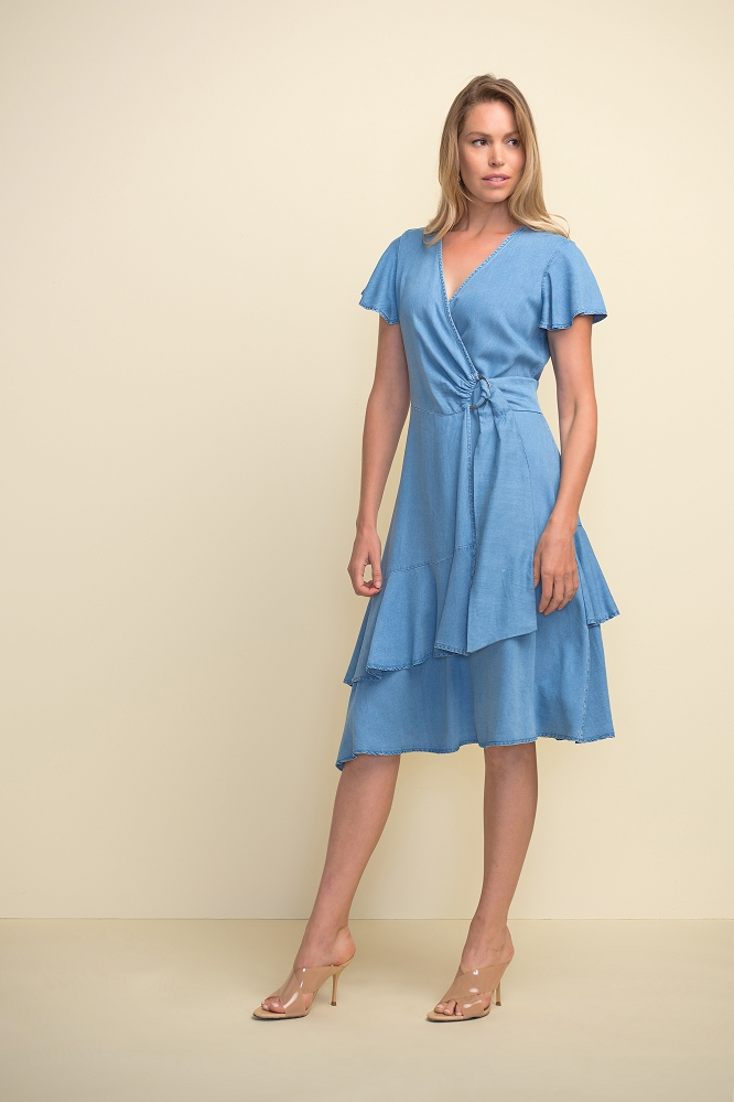 Joseph Ribkoff Chambray Belted Dress Style 211962