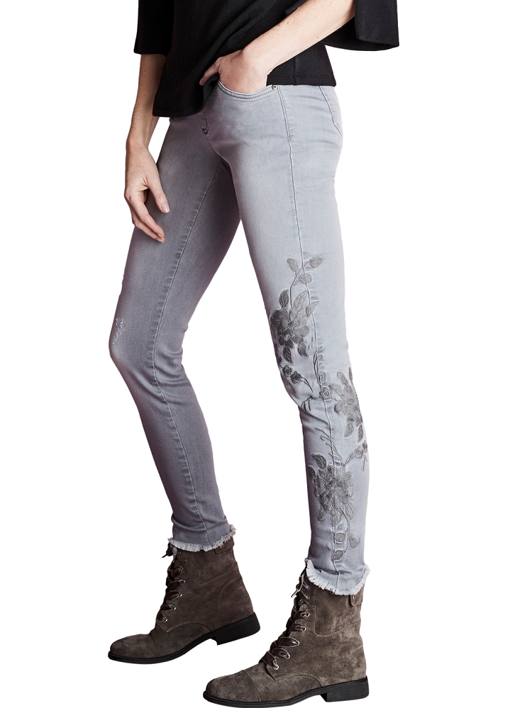 Lisette L. Skinny Leg Jeans Style 456788 Clara Denim With Flower Embroidery Color Grey