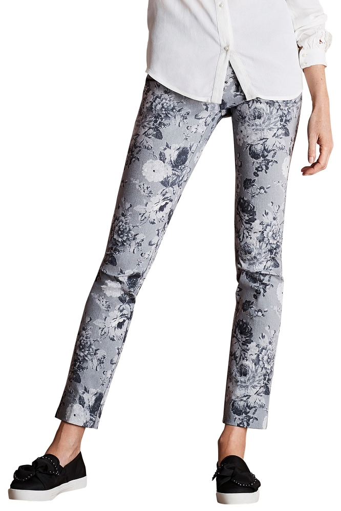 Lisette L. Slim Ankle Narrow Pant Style 40455 Sepia Floral Print CP Twill Color Grey