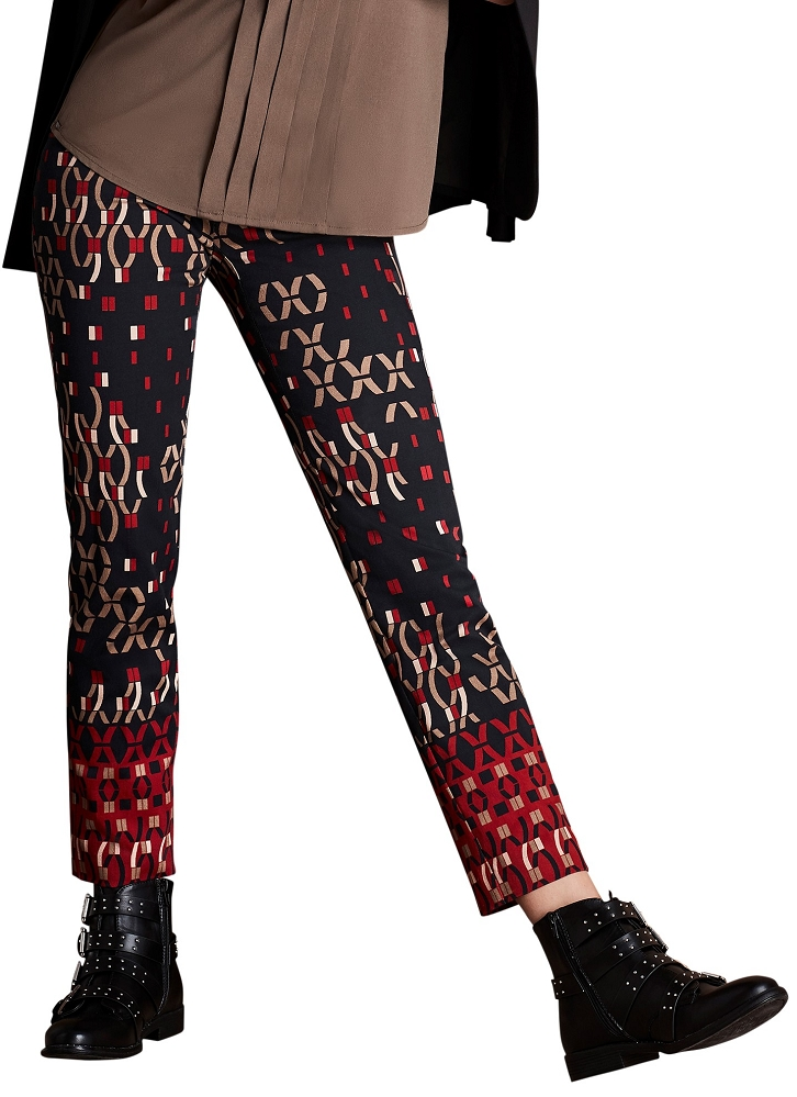 Lisette L. Slim Ankle Pant Style 44701 XOX Broder Print Cotton Twill Color Brick Red