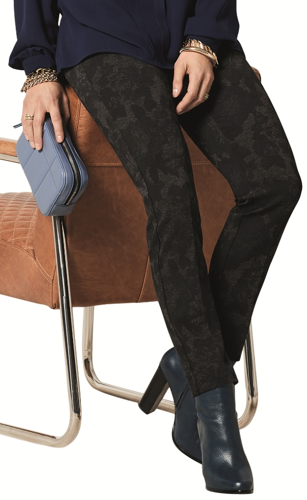 Lisette L. Slim Ankle Pants Style 29201 Midnight Rose Print PDR Color Navy