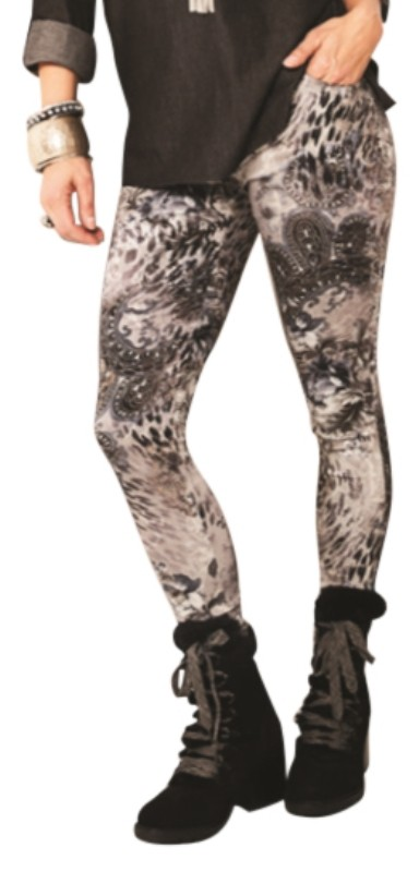 Lisette L. Slim Ankle Pants Style 29601 Animal Baroque Print Color Brushed Nickel