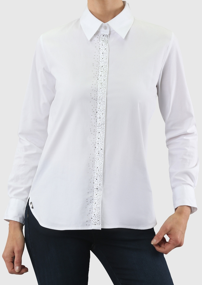 Lisette L Fall 2019 Blouse, Style 586272 Lisa Poplin Color White With Embellishment