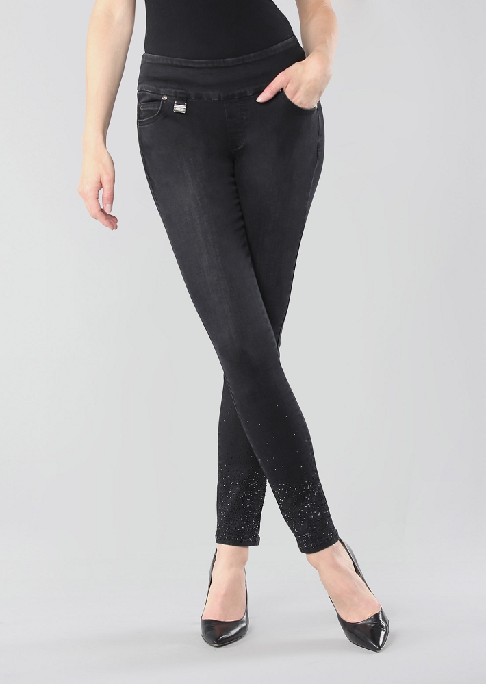 Lisette L. Skinny Jeans, Style 455630 Betty Denim With Studs Color Black