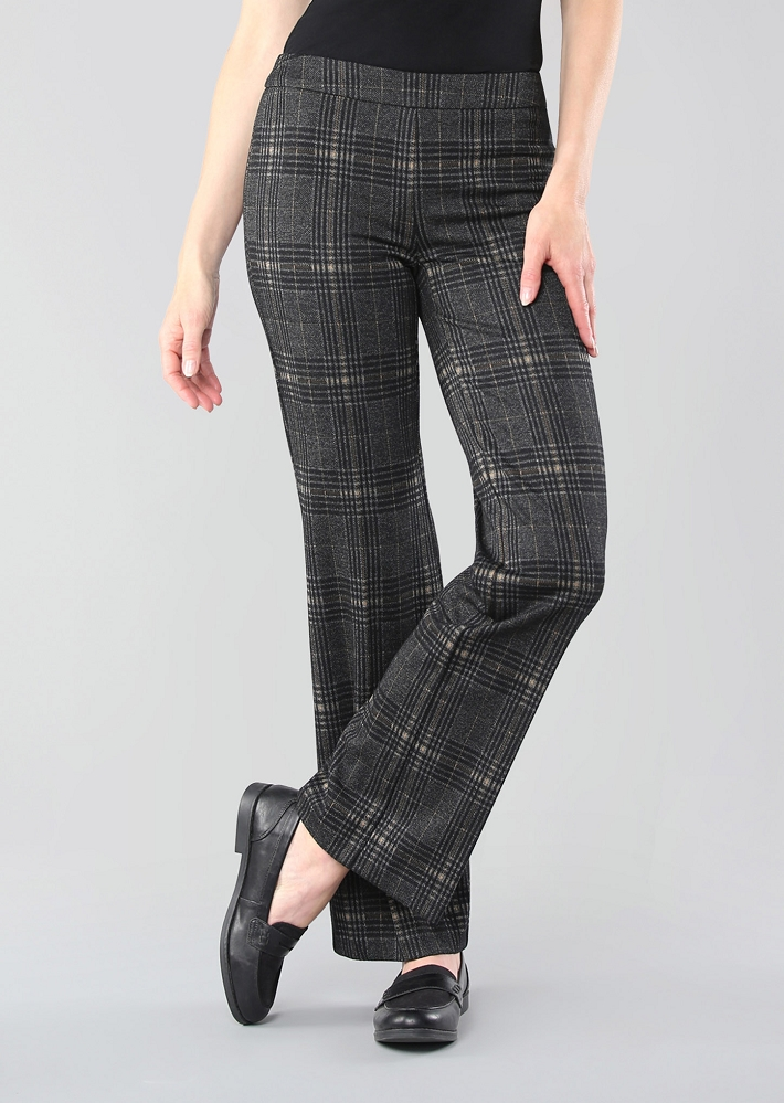 Lisette L. Palazzo Pant Style 682645 Thaxton Plaid Color Charcoal