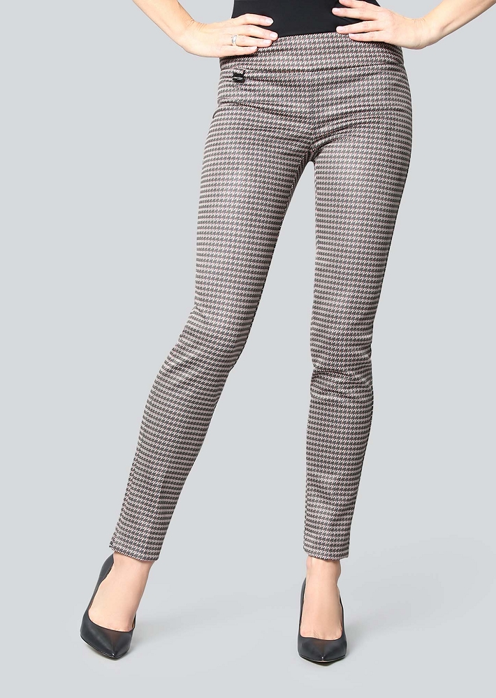 Lisette L. Slim Ankle Pant Style 71005 Corby Houndstooth Suede Color Camel