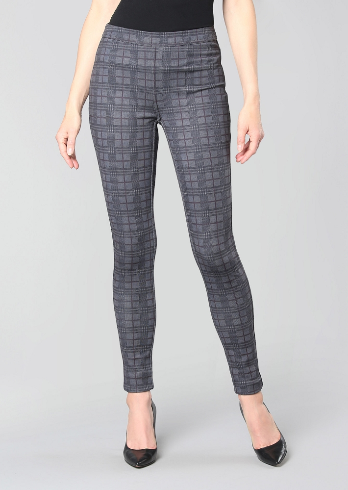 Lisette L. Slim Ankle Pant Style 726823 Reversible Manchester Plaid PDR Color Charcoal