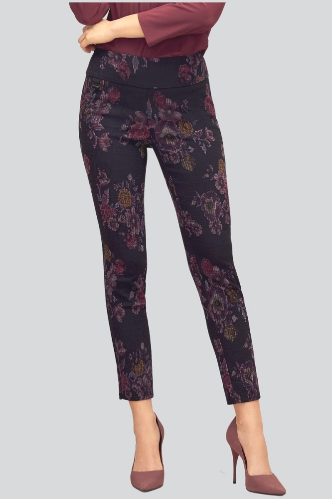 Lisette L. Slim Ankle Narrow Pant Style 73055 Tenby Floral Print Color Magenta