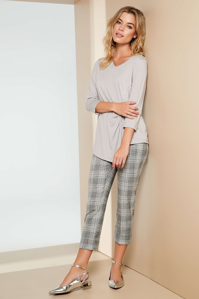 Lisette L. Cuffed Crop Pant Style 48285 Ennis Plaid Yarn Dye Color Grey