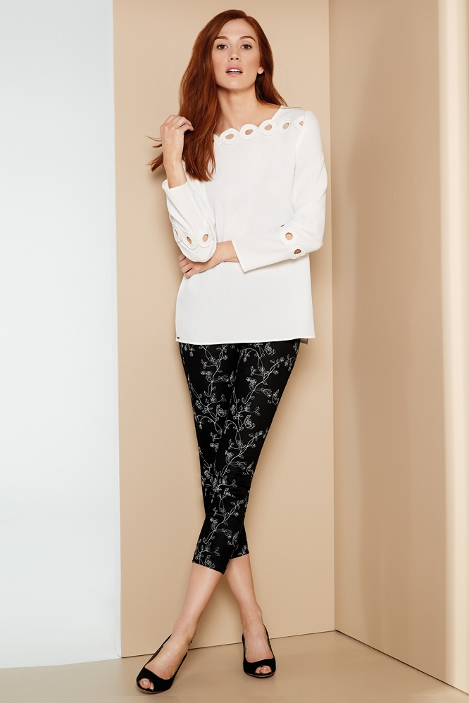 Lisette L. Slim Ankle Narrow Pant Style 47855 Tea Rose Embroidery Print Color Black-White
