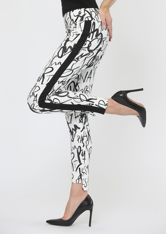 Lisette L. Slim Ankle Pant Style 618936 Fun Party Print Hi-Lo Color White-Black