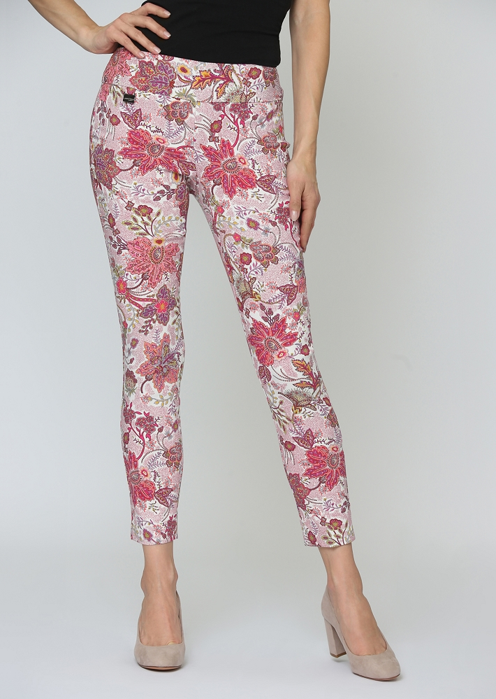 Lisette L. Slim Ankle Narrow Pant Style 63355 Sanibel Print Magical Lycra Color Spiced Coral