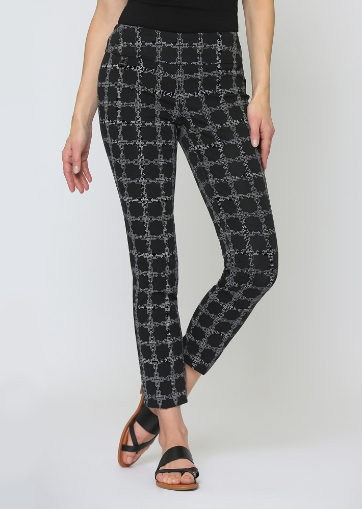 Lisette L. Slim Ankle Pant Style 65501 Chain Link Print Color Black-White