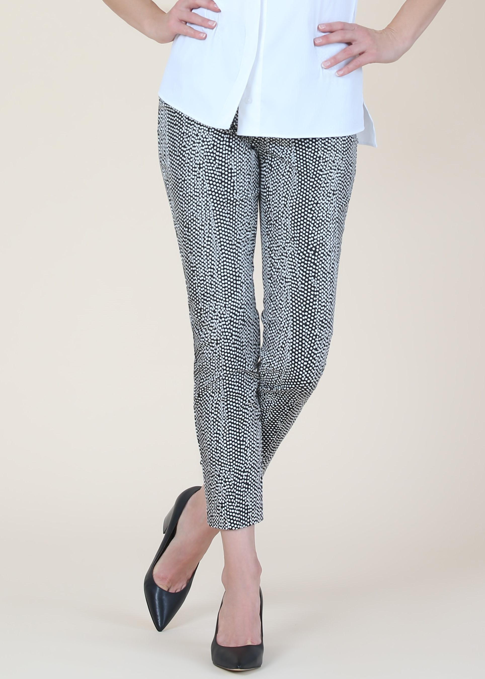 Lisette L. Slim Ankle Pant Style 74601 Cyber Dot Color Black/White