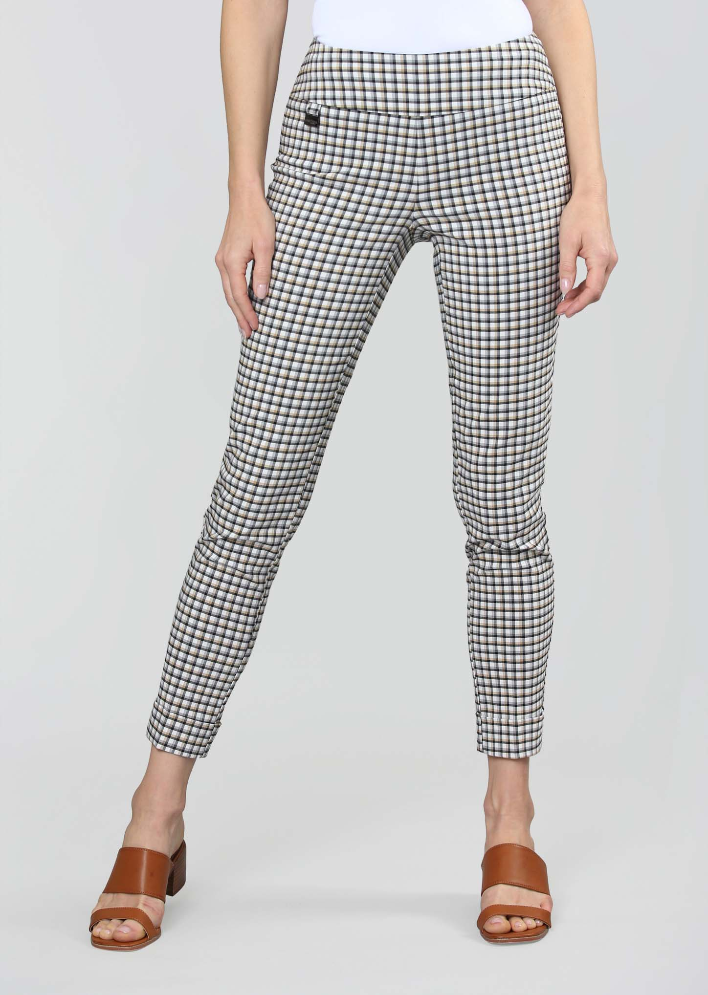 Lisette L. Slim Ankle Cuff Pant Style 782617 Naverra Check Color White/Black