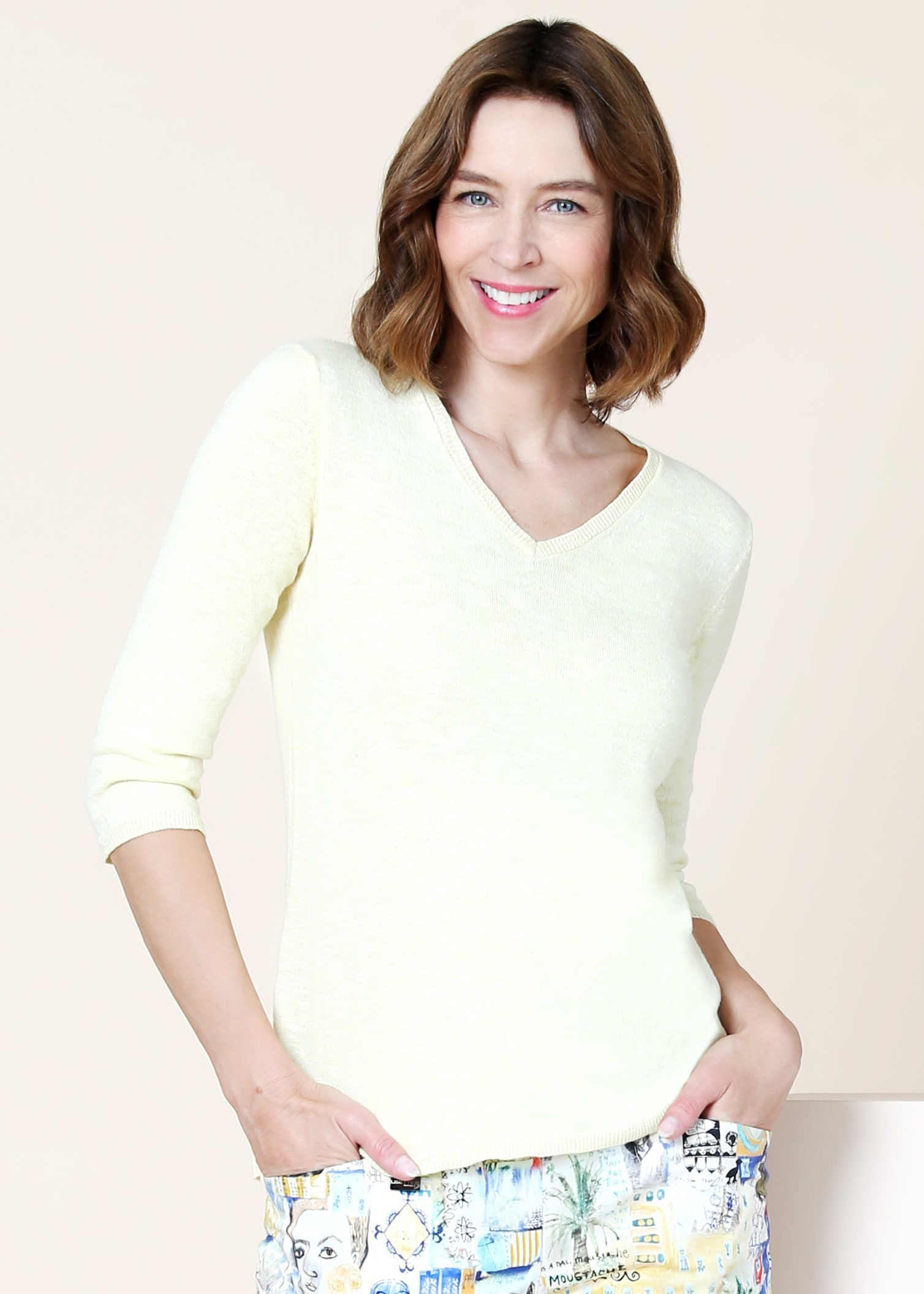 Lisette L Top Style 801131 Yolanda Knit Linen, 2 Colors Available