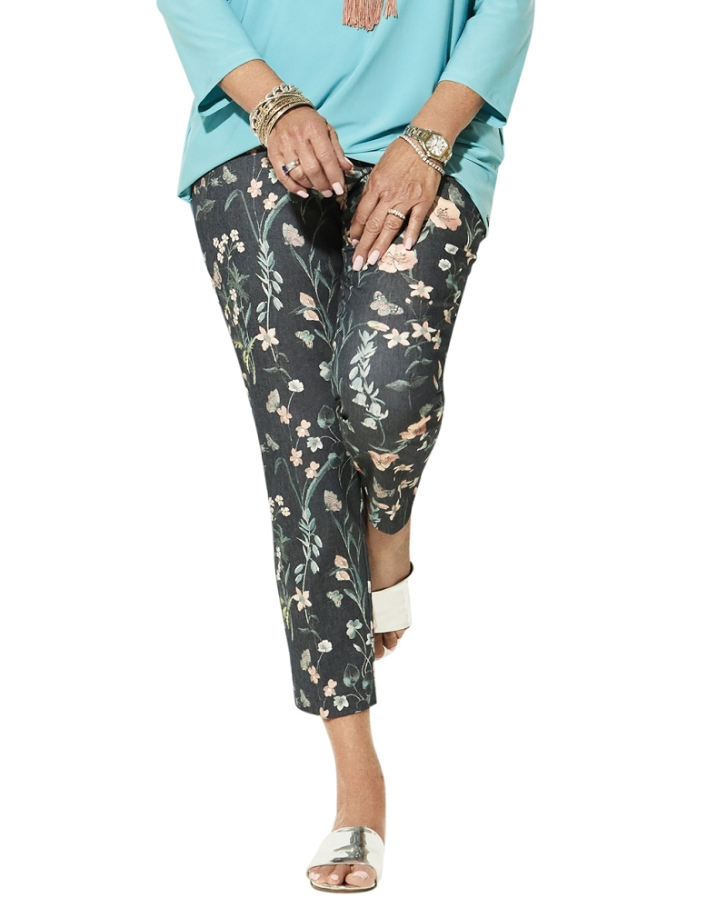 Lisette L. Slim Ankle Narrow Pant Style 32855 Japanese Garden Print Color Denim Blue