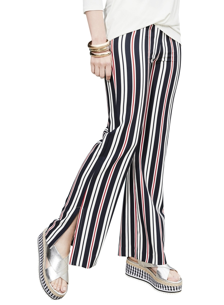 Lisette L Palazzo Wide Trouser Style 37288 Marine Stripe Color Marine Blue
