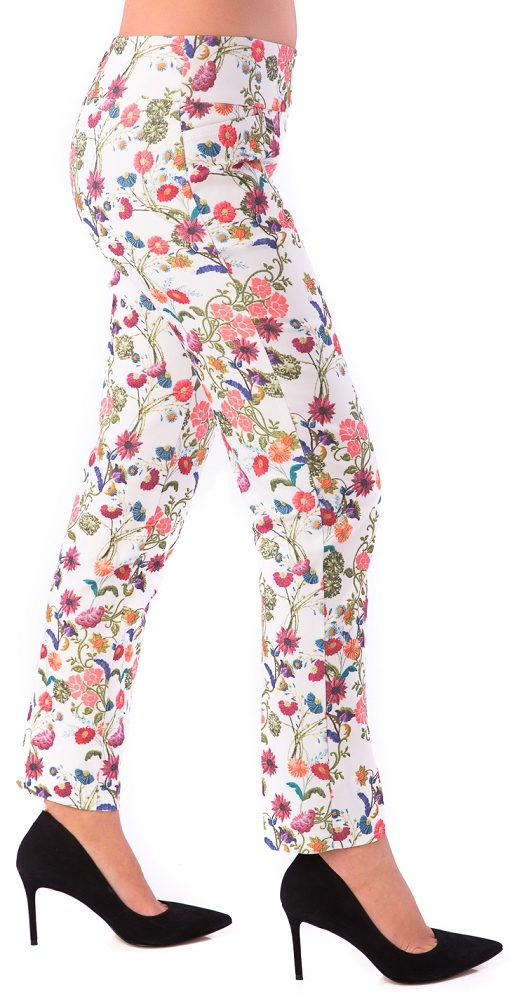 Lisette L Sport Slim Ankle Pants Style 34453 Embroidery Flower Print Color Multi