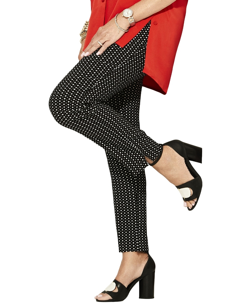 Lisette L. Slim Ankle Narrow Pants Style 33355 Deco Jacquard Color Black/White