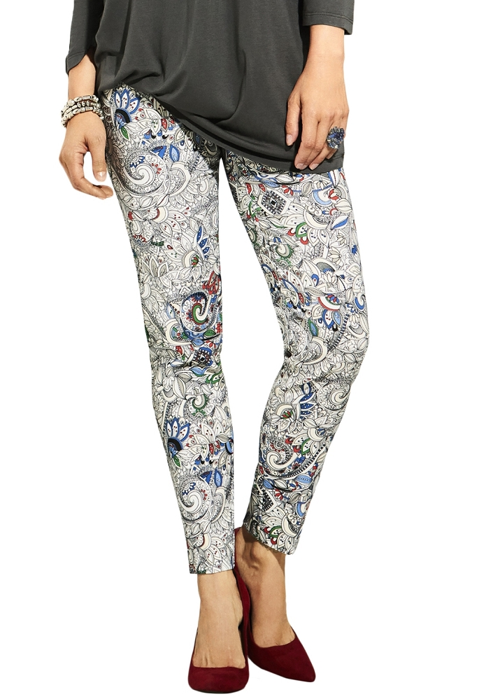 Lisette L. Slim Ankle Narrow Pant Style 34155 Japanese Paisley Print Color Marine Blue