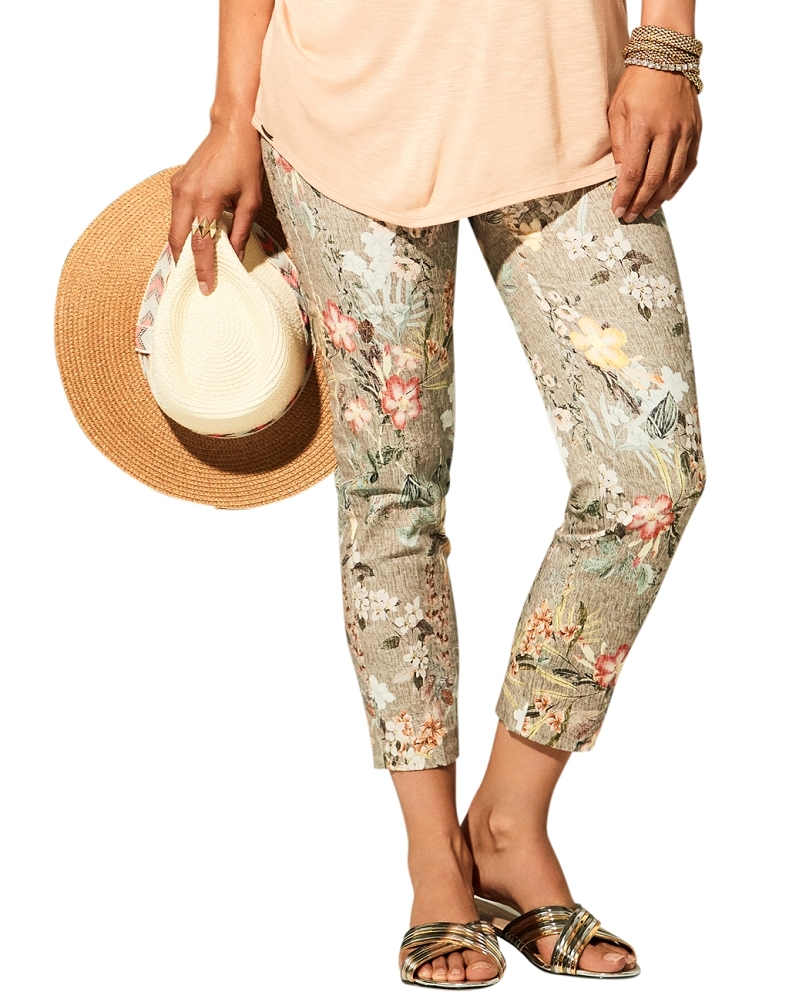 Lisette L. Thinny Crop Pants Style 34902 Obi Floral Print Color Loden Green