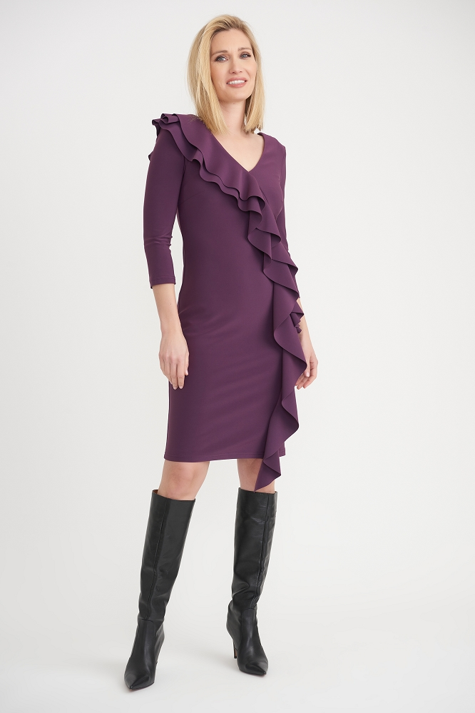 Joseph Ribkoff Womens Side Frilled Longed Sleeved Dress, Style 203336 Color Amethyst