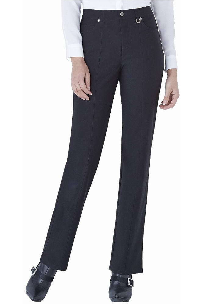 Simon Chang, Micro Twill Straight Legs Pants,Style 5302, Color Black, Inseam 33