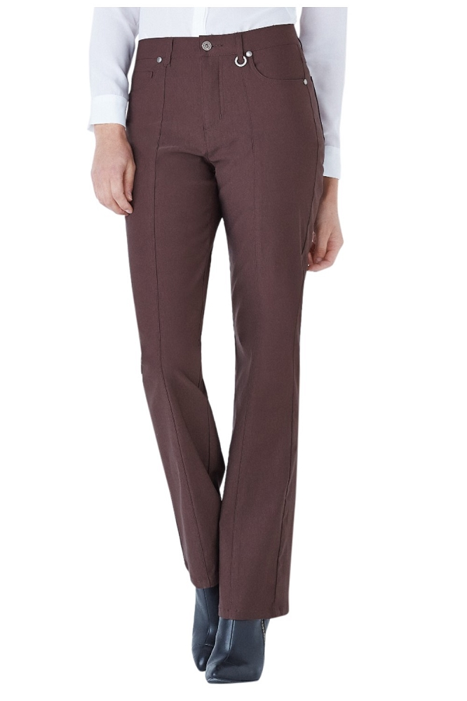 Simon Chang, Micro Twill Straight Legs Pants,Style 5302, Color Brown, Inseam 33