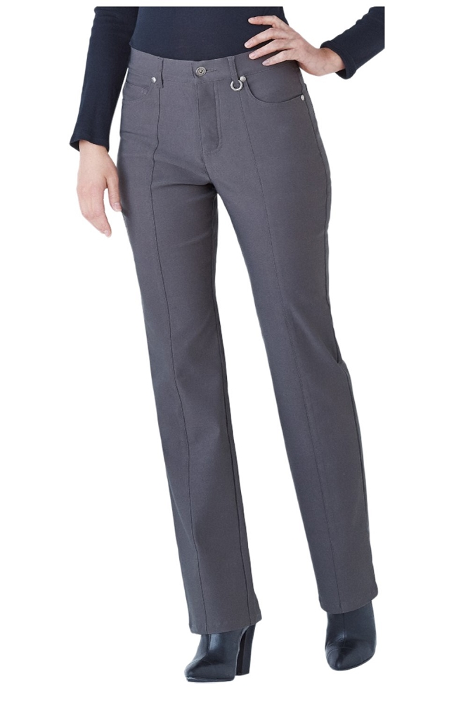 Simon Chang, Micro Twill Straight Legs Pants,Style 5302, Color Charcoal, Inseam 33