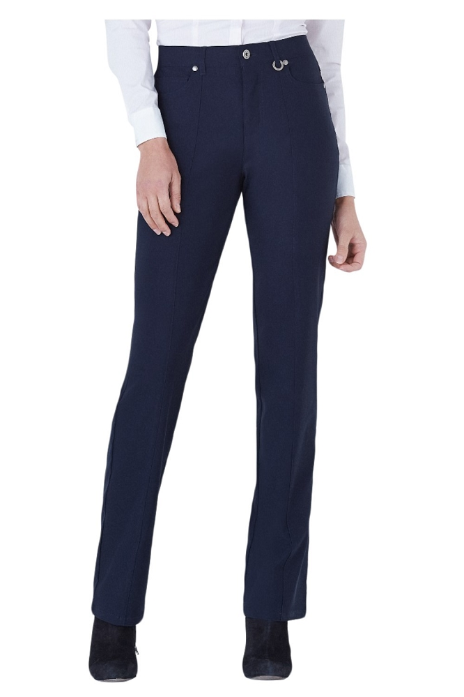 Simon Chang, Micro Twill Straight Legs Pants,Style 5302, Color Navy, Inseam 33