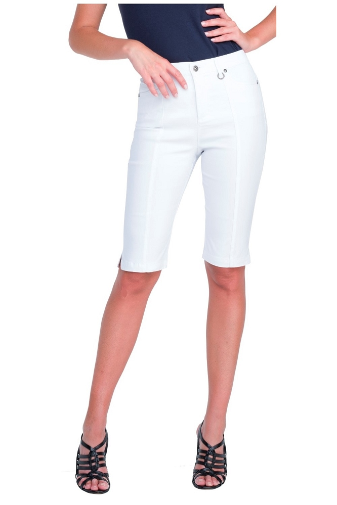 Simon Chang Micro Twill Bermuda, Style 5799, Color White