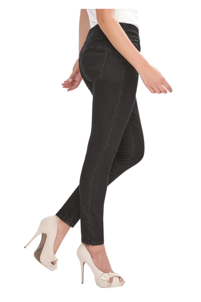 Simon Chang Pull On Slim Jeans, Style 7057, Color Black