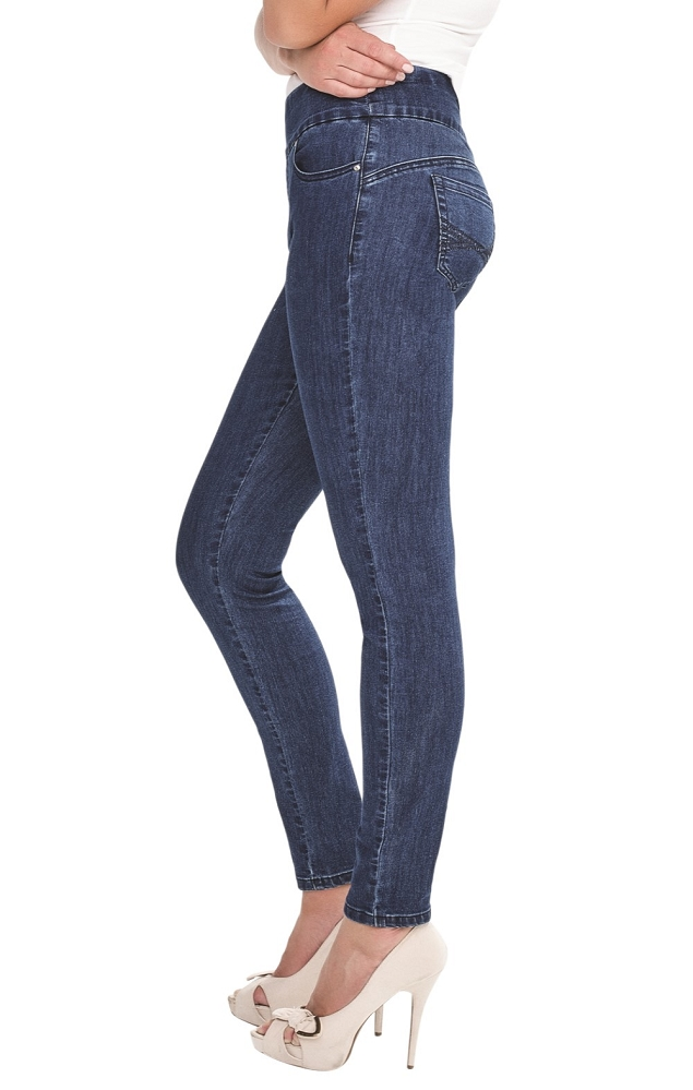 Simon Chang Pull On Slim Jeans, Style 7057, Color Blue